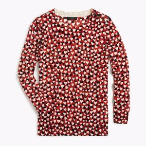 NWT J. Crew Women's Tippi Sweater in Printed Heart